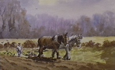 Early ploughing watercolour