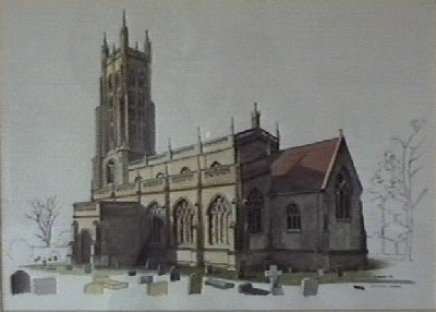 Ink drawing of All Saints' church